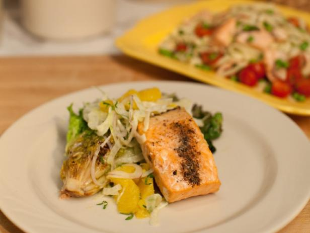 grilled salmon with citrus fennel salad and grilled escarole - Ina Garten Fennel Salad