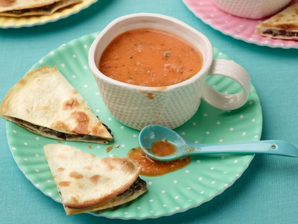 Creamy Chilled Tomato Soup with Black Bean-Pepper Jack Quesadillas