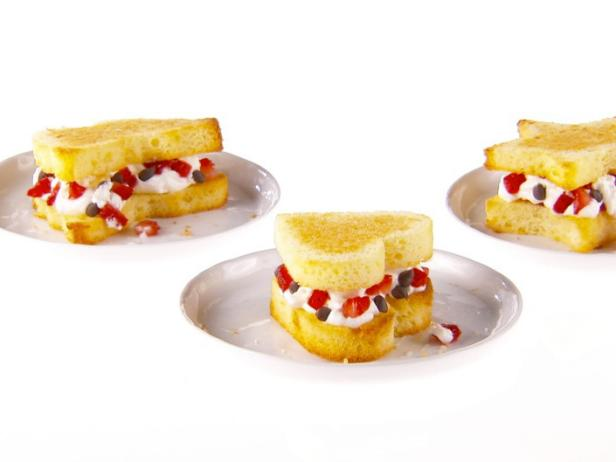 Pound Cake Cut-Out Sandwiches with Strawberry Whipped Cream