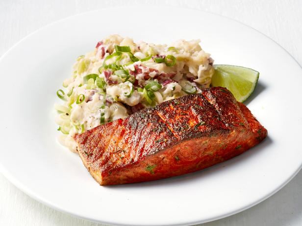 Blackened Salmon with Lima Bean Smashed Potatoes