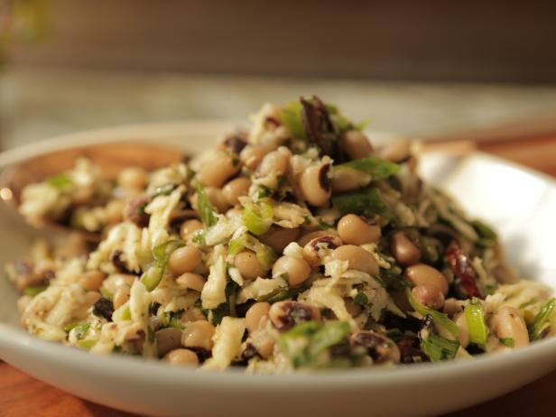 Black Eyed-Pea Salad with Fried Kalamata Olives and Parsnip