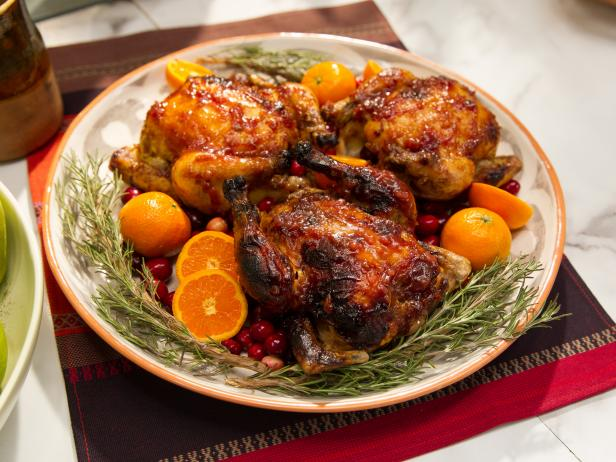 Clementine and Cranberry Glazed Cornish Game Hens