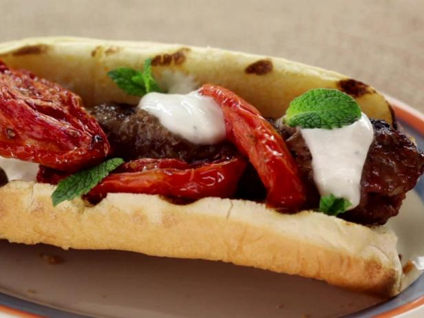 Kefta Dog with Roasted Tomatoes, Ballpark Style