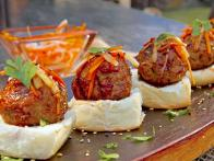 Asian Chicken Meatball Sliders with Pickled Carrot and Daikon