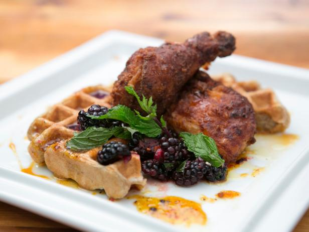Battered Fried Chicken and Waffles with Bourbon-Tangerine Syrup