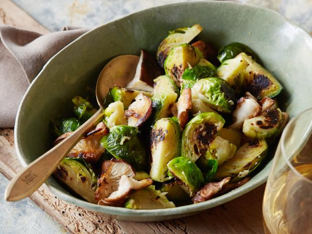 Brussels Sprouts with Mushrooms and Ginger
