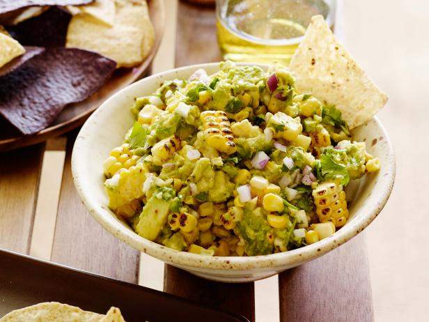 Charred Corn Guacamole with Corn Chips