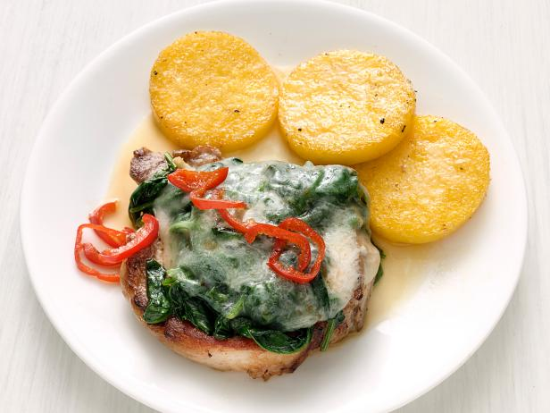 Spinach-and-Cheese Pork Chops with Polenta
