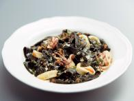 Squid Ink Tagliatelle with Squid and White Wine-Tomato Sauce