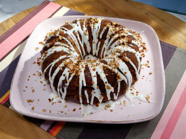 Cinnamon Almond Dark Chocolate Monkey Bread with Cream Cheese Drizzle