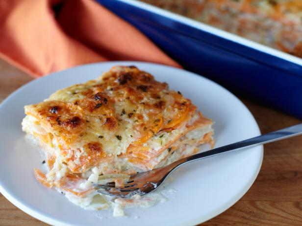 Sweet Potato Gratin with Carmelized Onion and Parmesan Cheese