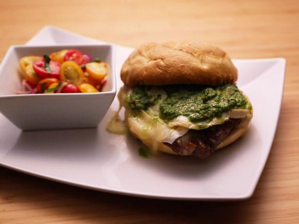 Filet Mignon Sandwich with Onions, Camembert, Fried Egg and Chimichurri