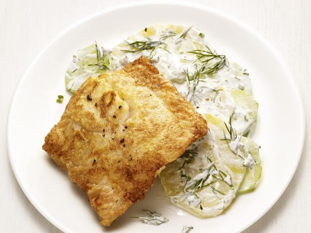 Pan-Fried Hake with Dill Potato Salad
