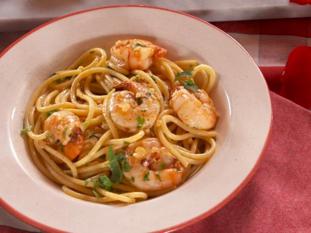 Shrimp Scampi with Bucatini Noodles