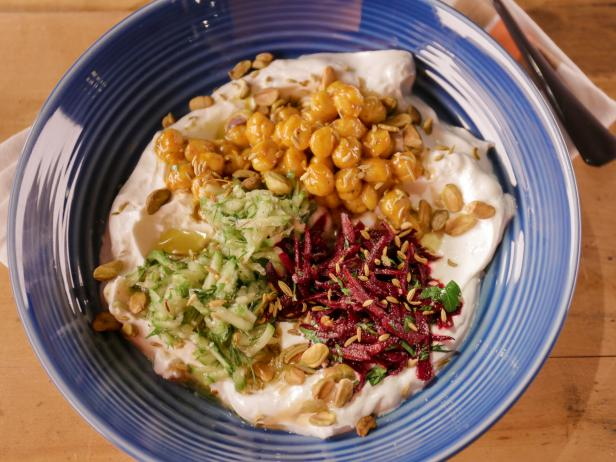 Savory Yogurt Bowl with Chickpeas, Cucumbers and Beets