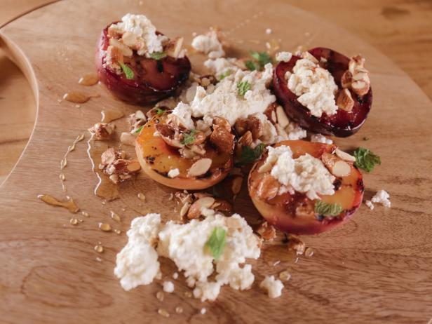 Grilled Stone Fruit with Farmer's Cheese and Spiced Honey Almonds