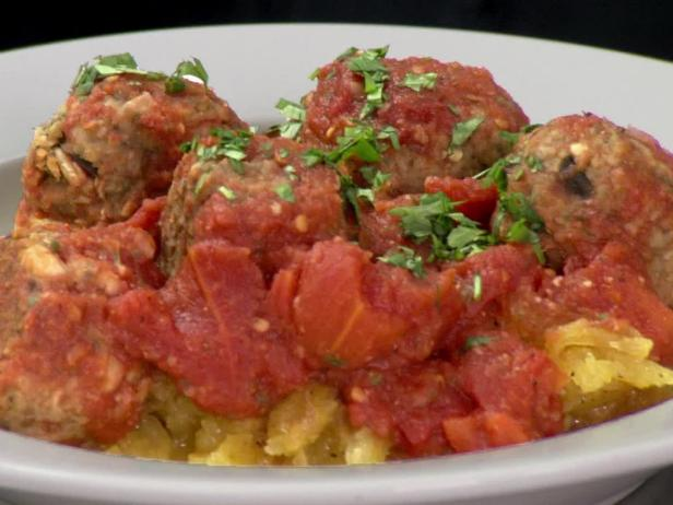 Eggplant and White Bean Meatballs with Spaghetti Squash