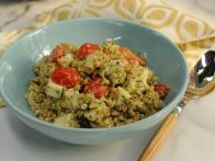 Pesto Farro with Chicken, Smoked Mozzarella and Tomatoes