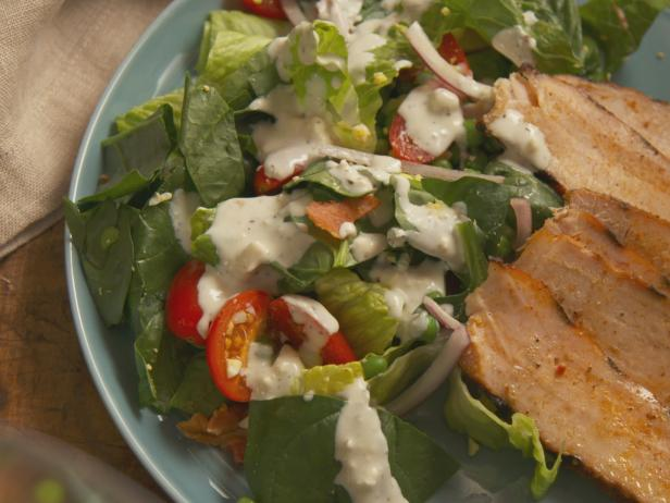 Pork Chop Layered Salad with Blue Cheese Dressing