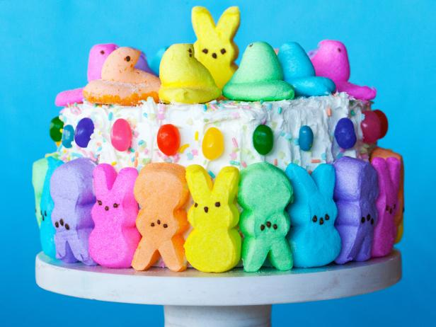 Easter Cake Decorated with Peeps and Jelly Beans