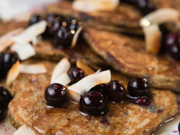 Banana Pancakes with Blistered Berries