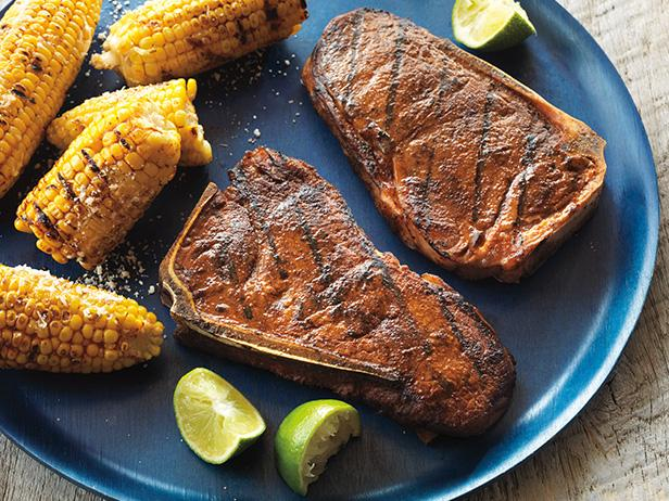 Smoky Strip Steaks with Mexican-Style Grilled Corn