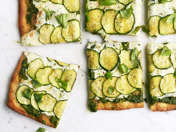 Arugula Pesto Pizza with Zucchini