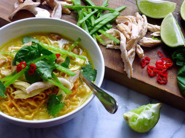 Spicy Curry-Coconut Chicken Noodle Soup