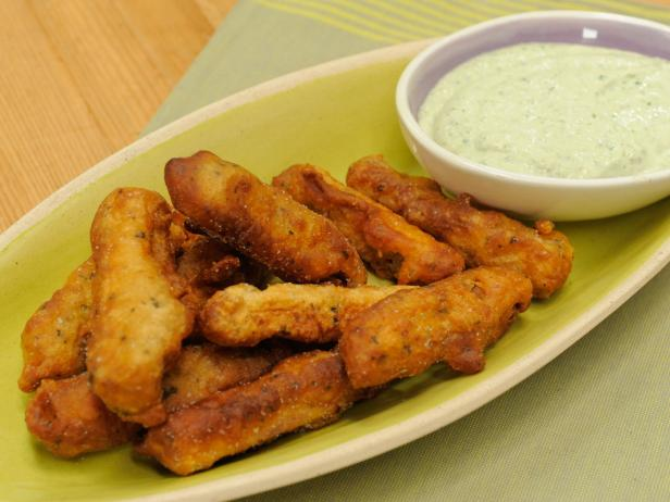 Sunny's Beer-Battered Eggplant Fries with Nunya Business Tzatziki Dip