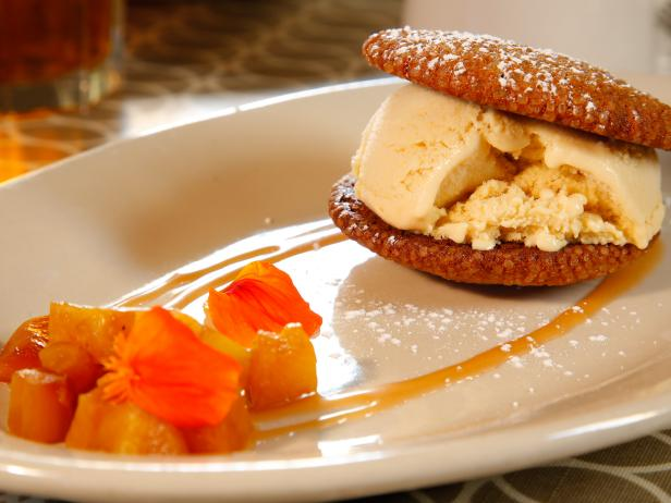 Butterscotch Ice Cream Sandwiches with Molasses Cookies and Caramelized Pineapple