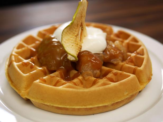 Carmel Big Apple Waffle with Salted Caramel Sauce