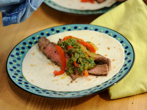 Flank Steak Fajitas with Chimichurri and Drunken Peppers