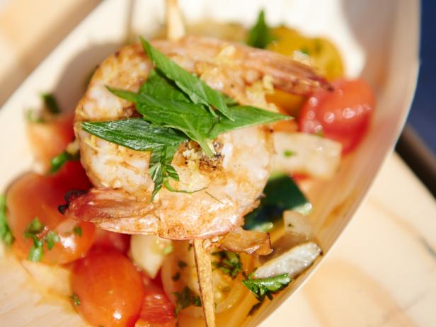 Grilled Shrimp Skewers with Fennel Chopped Salad
