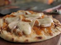 Roasted Chicken, Peach and Brie Pizza