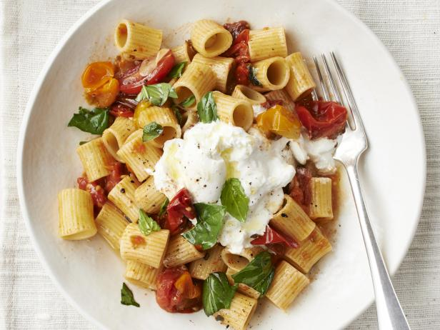 Rigatoni with Roasted Cherry Tomatoes and Burrata