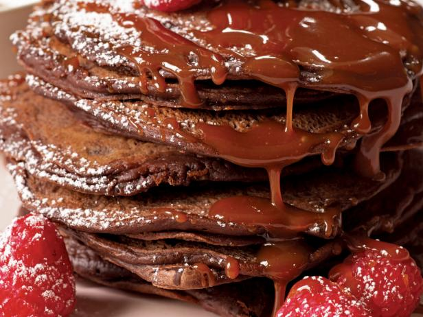 Double Chocolate Pancakes with Salted Caramel Sauce