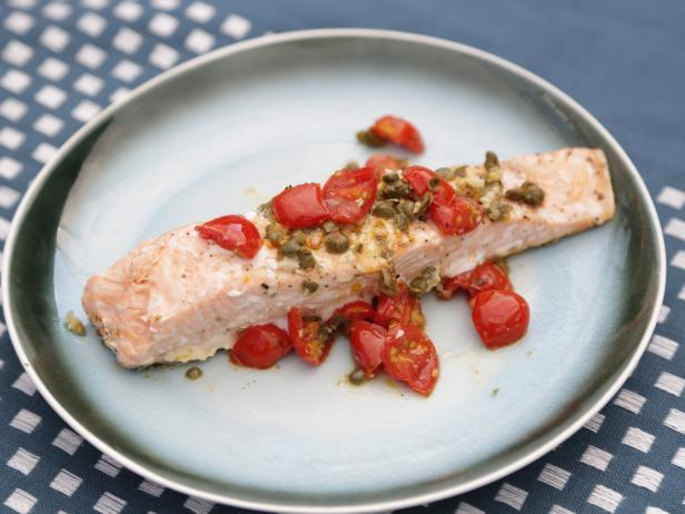 Salmon with Tomatoes and Capers in Foil