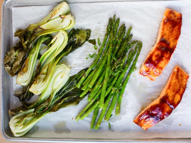 Glazed Salmon and Bok Choy Sheet Pan Dinner