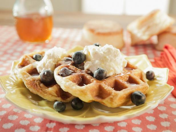 Biscuit Waffles with Lemon Cream, Lemon Syrup and Blueberries