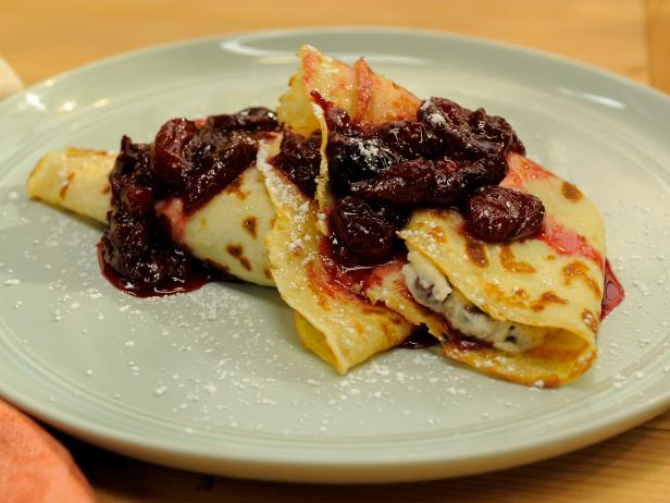 Crepes with Mascarpone and Chocolate with Cherry Compote