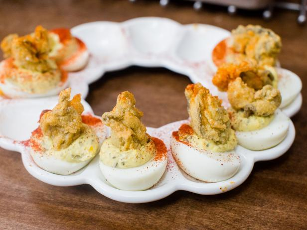Lemon-Caper Deviled Eggs with Fried Oysters Recipe | Katie Lee | Food ...