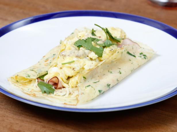 Ham and Cheesy Egg Crepes with Mustard Sauce