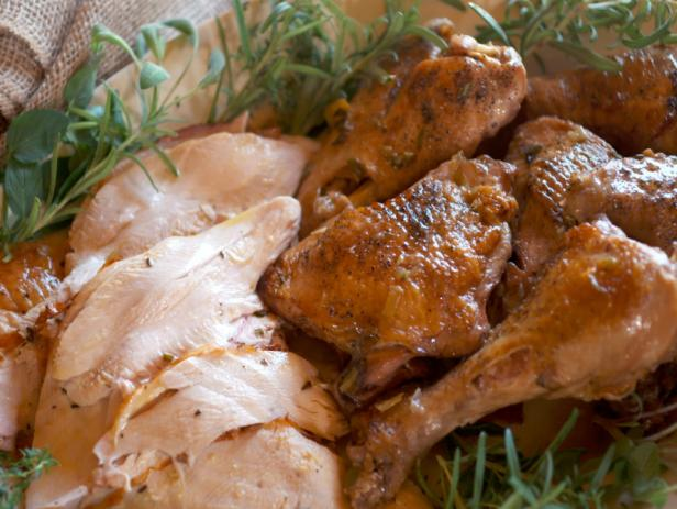 Roasted and Braised Turkey with Cognac Gravy