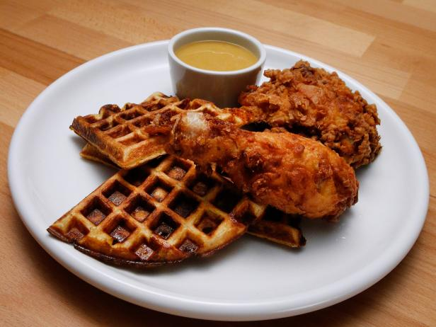 Cheddar Scallion Waffles and Dijon Buttermilk Fried Chicken