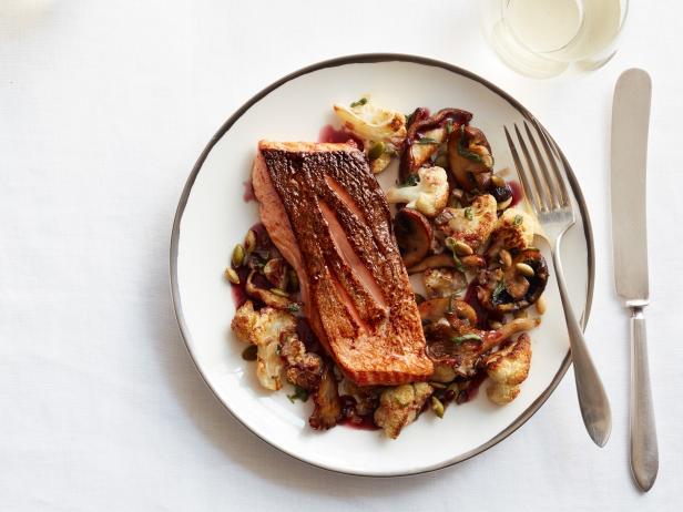 Oven-Roasted Salmon with Cauliflower and Mushrooms