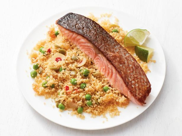 Salmon with Couscous and Peas
