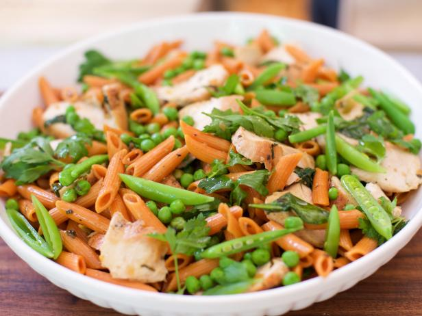 Lemon Herb Chicken Pasta with Green Peas, Snap Peas and Spinach