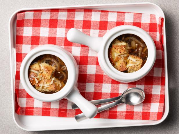 French Onion Soup with Bagel Bread Pudding Croutons