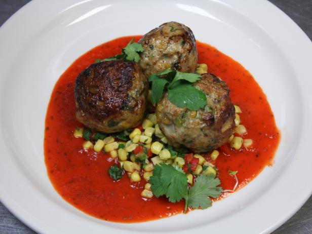 Turkey and Corn Meatballs with Roasted Pepper Sauce