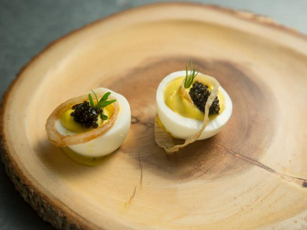 Bearnaise Deviled Eggs with Caviar and Fried Shallots